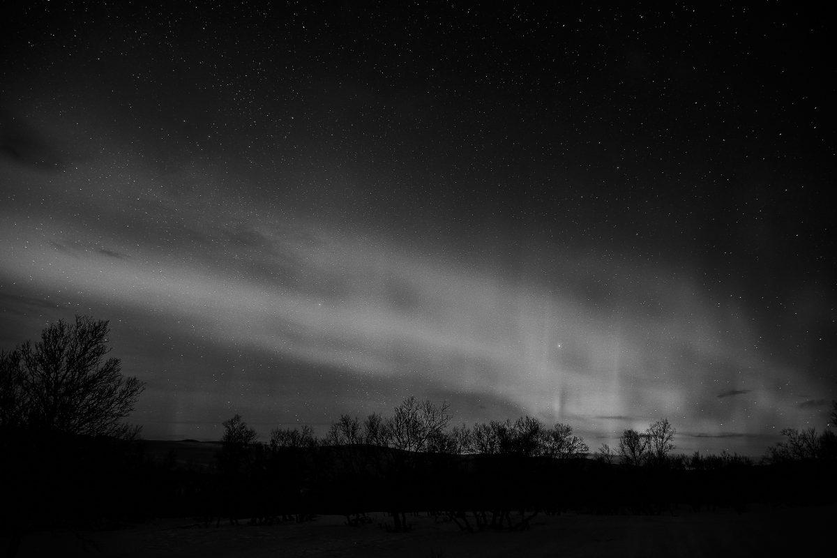 photo en noir et blanc d'une aurore boréale